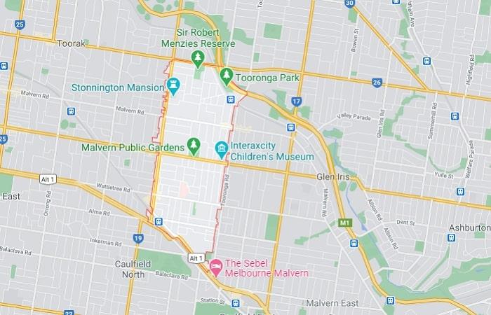 Malvern Area Map